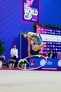 Tuncel Kamelya during the qualification of hoop at the Pesaro World Cup 2018.Kamelya is a turkish gymnast born in Yenimahalle, metropolitan district of Ankara Province, in 2002.