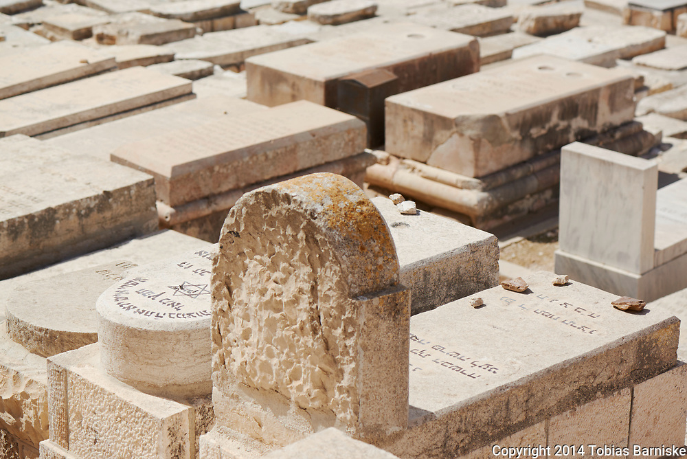 Jewish cemetery at the Mount of Olives, above the Kidron valley. In Jewish religious tradition, the Kidron valley will be the place of the eternal jugdement in the times of the messiah. Thus, observant jews tried and try to buried nearby.