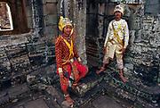 Dancers wearing Khon (masks),The Bayon, Angkor Thom, Siem Reap, Cambodia