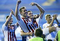 Fotball<br /> 07.08.2014<br /> Foto: imago/Digitalsport<br /> NORWAY ONLY<br /> <br /> ZAGREB, AUG. 7, 2014 -- Anders Jacobsen(2nd L) of Aalborg celebrates with his teammates during UEFA Champions League 3rd Qualifying Round soccer match against Dinamo Zagreb at the Maksimir Stadium in Zagreb, Croatia, Aug. 6, 2014. Aalborg won 2-0.