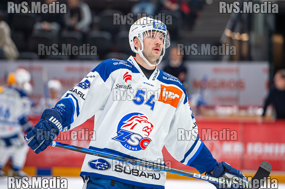 LAUSANNE, SWITZERLAND - OCTOBER 01: Christian Marti #54 of ZSC Lions in action during the Swiss National League game between Lausanne HC and ZSC Lions at Vaudoise Arena on October 1, 2021 in Lausanne, Switzerland. (Photo by Monika Majer/RvS.Media)