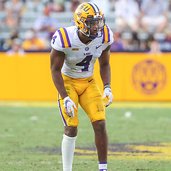 Sep 26, 2020; Baton Rouge, Louisiana, USA; LSU Tigers safety Todd Harris Jr. (4) against the Mississippi State Bulldogs during the second half at Tiger Stadium. Mandatory Credit: Derick E. Hingle-USA TODAY Sports