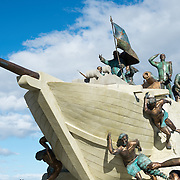 A new monument paying tribute to the region's maritime history on the waterfront of the Strait of Magellan in Punta Arenas, Chile. The city is the largest south of the 46th parallel south and capital city of Chile's southernmost region of Magallanes and Antartica Chilena.