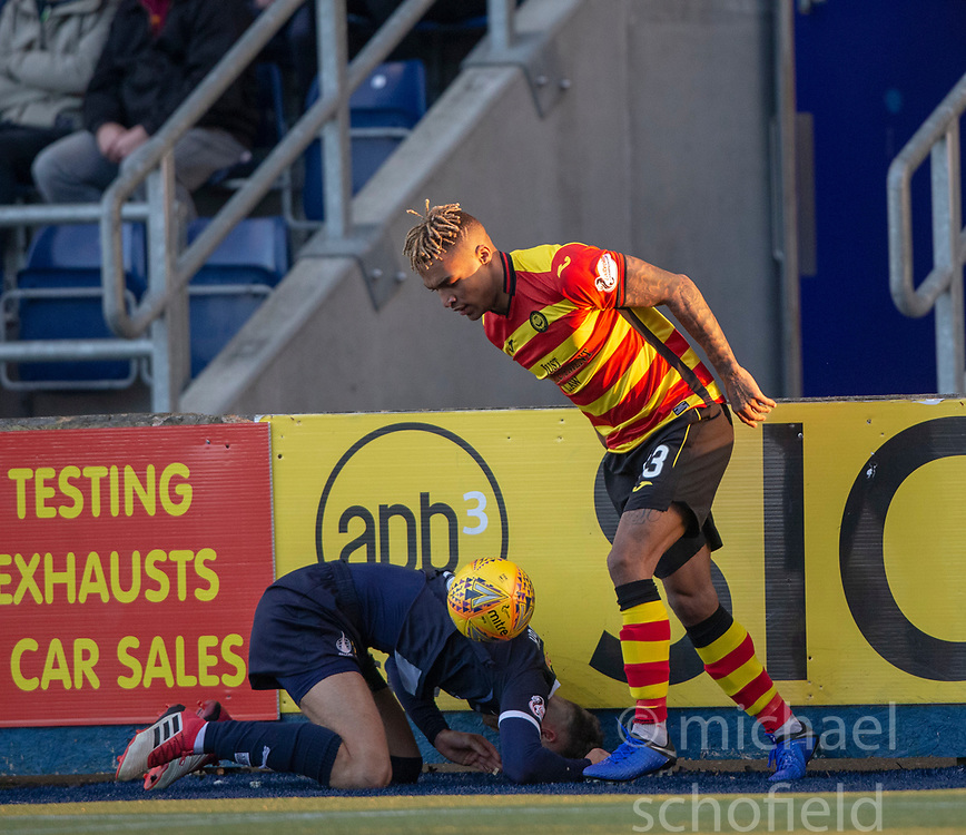 Falkirk's Patrick Brough tackled by Partick Thistle's Jai Quitongo. half time : Falkirk 0 v 0 Partick Thistle, Scottish Championship game played 17/11/2018 at The Falkirk Stadium.