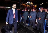 Arsenal manager Arsene Wenger at Donetsk Airport as the team arrive for the Champions league match against Shakhtar Donetsk. Donetsk, Ukraine, 6/11/2000. Credit Colorsport / Stuart MacFarlane.