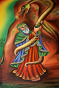 Painting depicting the story of Abune Aregawi ascending the serpent to Debre Damo. West of Adigrat, Tigray Region. Ethiopia, Horn of Africa
