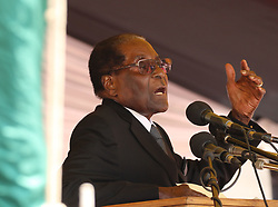 President Robert Mugabe addresses mourners gathered for the burial of liberation and national hero Don Muvuti in Harare,Zimbabwe,November 1,2017.Mugabe said that the Southern African nation may soon resume death penalty due to rising in murder cases.Zimbabwe stopped execution in 2015.(Xinhua/Stringer) (Photo by Xinhua/Sipa USA)