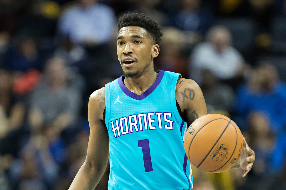 MEMPHIS, TN - OCTOBER 30:  Malik Monk #1 of the Charlotte Hornets brings the ball down the floor during a game against the Memphis Grizzlies at the FedEx Forum on October 30, 2017 in Memphis, Tennessee.  NOTE TO USER: User expressly acknowledges and agrees that, by downloading and or using this photograph, User is consenting to the terms and conditions of the Getty Images License Agreement.  The Hornets defeated the Grizzlies 104-99.  (Photo by Wesley Hitt/Getty Images) *** Local Caption *** Malik Monk