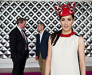 Catwalk Model Gayle Kelly , Michael Moloney Galway Race Course Manager withPat Smullen at the launch of The Galway Races 2016 Summer Festival which runs from the 25th of July to the 31st of July in Galway City. Photo: Andrew Downes :