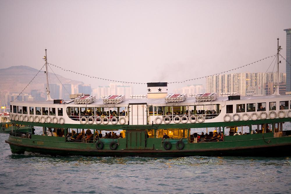 Hong Kong, Hong Kong Island, China - December 12, 2008: The Star Ferry at Victoria Harbour.