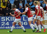 Football - 2018 / 2019 FA Women's Super League (WSL) - Arsenal Women vs. Manchester City Women<br /> <br /> Emma Mitchell of Arsenal celebrates scoring the winning goal with a rocket shot from outside the box, at Meadow Park.<br /> <br /> COLORSPORT/ANDREW COWIE