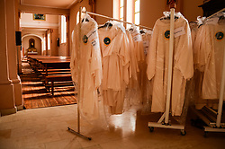 May 4, 2019 - Rakovski, Bulgaria - Children robes  Church of the Sacred heart where the Pope will give 250 children first communion.People in Rakovski town preparing for the visit of Pope Francis on May 6 2019. The Pope will make his apostolic visit to the town with highest population of Catholics. In Bulgaria the most popular religion is Orthodox Christianity Rakovski, Bulgaria on May 04, 2019  (Credit Image: © Hristo Rusev/NurPhoto via ZUMA Press)
