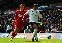 Pedro Da Silva Mendes<br />Tottenham Hotspur 2004/05<br />John Arne Riise Liverpool<br />Tottenham Hotspur v Liverpool (1-1) 14/08/04<br />The Premier League<br />Photo Robin Parker Fotosports International