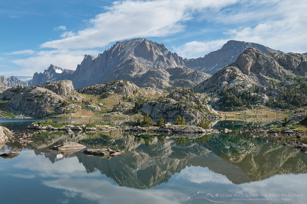 Fremont Peak reflected in Island Lake, Bridger Wilderness, Wind River Range Wyoming
