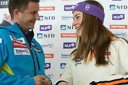 Tomi Trbovc and Tina Maze at press conference after she won silver medal in Giant Slalom at Ski World Championships Val d'Isere 2009, on February 16, 2009, in Hotel Larix, Kranjska Gora, Slovenia. (Photo by Vid Ponikvar / Sportida)