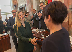 28.03.2018, Altes Landhaus, Innsbruck, AUT, konstituierende Sitzung, Tiroler Landtag, im Bild v.l.: die neue 2. Landtagspräsidentin Stephanie Jicha (GRÜNE) und neue Landtagspräsidentin Sonja Ledl-Rossmann (ÖVP) // during the inaugural session of the Tyrolean state parliament at the Altes Landhaus in Innsbruck, Austria on 2018/03/28. EXPA Pictures © 2018, PhotoCredit: EXPA/ Jakob Gruber