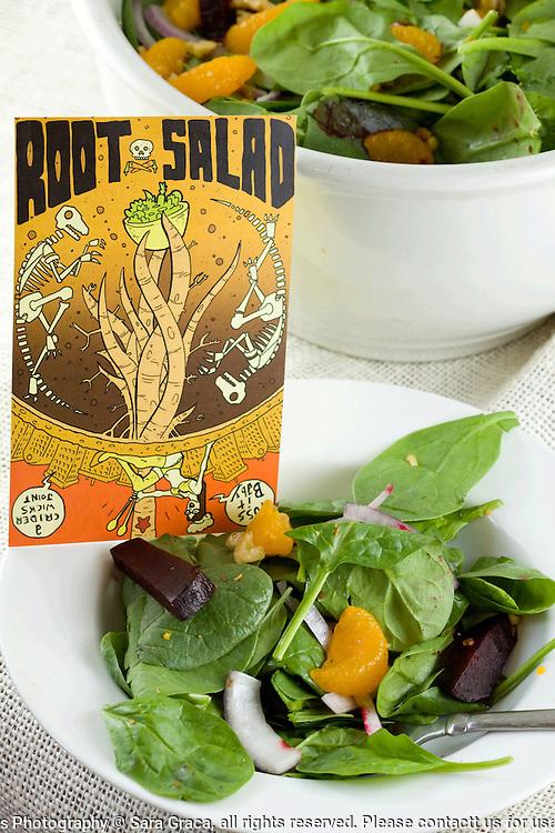 Randolph Crider's beet root tree fruit spinach salad with mustard vinegarette.