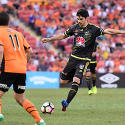 BRISBANE, AUSTRALIA - APRIL 16: Guilherme Finkler of the Phoenix kicks the ball during the round 27 Hyundai A-League match between the Brisbane Roar and Wellington Phoenix at Suncorp Stadium on April 16, 2017 in Brisbane, Australia. (Photo by Patrick Kearney/Brisbane Roar)