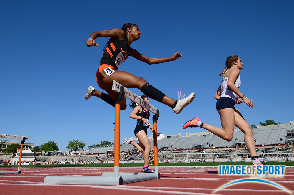 Mar 29, 2018; Austin, TX, USA; Megan Smith of Sam Houston State (left), Faith Roberson of Texas Tech (center) and Jordan Brandt of Utah State run in a women's 400m hurdles heat during the 91st Clyde Littlefield Texas Relays at Mike A. Myers Stadium.