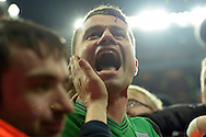 Goalkeeper Shay Given of Aston Villa celebrates with the crowd after the final whistle during a pitch invasion. The FA cup, 6th round match, Aston Villa v West Bromwich Albion at Villa Park in Birmingham, Midlands on Saturday 7th March 2015<br /> pic by John Patrick Fletcher, Andrew Orchard sports photography.