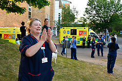 Clinical Support Manager clapping at Thursday 8pm celebration during Coronavirus lockdown, Royal Berkshire Hospital UK May 2020
