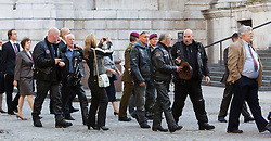 © Licensed to London News Pictures. 11/09/2011. London, UK. Bikers attend service in their leather gear. Remembering with Hope. A special service at St Paul's Cathedral to mark the 10th anniversary of the 9/11 attacks in the US and the 20th anniversary of the Firefighters Memorial Trust.  Photo credit: Bettina Strenske/LNP