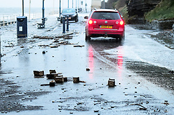 © London News Pictures. 03/01/2018. Aberystwyth, UK.  Damage to the seafront as storm Eleanor, the fifth named storm of the winter, hits Aberystwyth Wales, with westerly winds gusting up to 80mph bringing huge waves crashing against the sea defences at high tide on Wednesday morning at 8am. Photo credit: Keith Morris/LNP