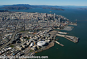 aerial photograph of Mission Bay to downtown San Francisco and the Golden Gate bridge, San Francisco, California