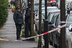 © Licensed to London News Pictures. 20/12/2019. London, UK. Police at the crime scene in Bromley, Walthamstow. Police were called yesterday at 19:16 to reports of a fight. Officers attended and found a man aged in his 20's suffering stab injuries who was pronounced dead at the scene. Photo credit: Vickie Flores/LNP
