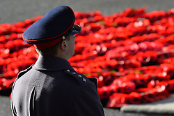 A soldier stands by poppies during the annual Remembrance Sunday Service at the Cenotaph memorial in Whitehall, central London, held in tribute for members of the armed forces who have died in major conflicts.