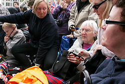 29 April 2011. London, England..The Richards and Murray family wait outside  Westminster Abbey for the start of the Royal wedding. They have been camping out for 3 days to stake out the best spot to see celebrities and royalty. Prince William is set to marry his bride Catherine Middleton on Friday, April 29th. .Photo; Charlie Varley.