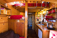 The interior of The Caboose Tiny House, at the Caravan, the Tiny House Hotel, Portland, OR, USA
