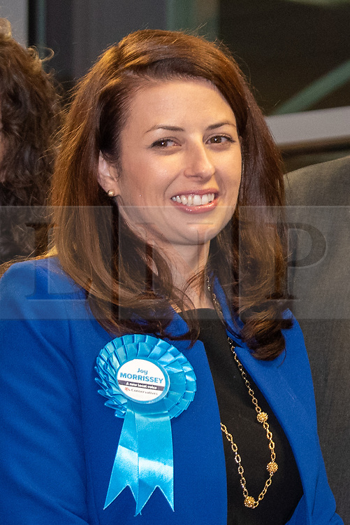 © Licensed to London News Pictures. 13/12/2019. Denham, UK. Joy Morrissey the Conservative and Unionist Party candidate is declared the winner for the Beaconsfield constituency at the offices of the South Bucks District Council during 2019 United Kingdom general election. Photo credit: Peter Manning/LNP