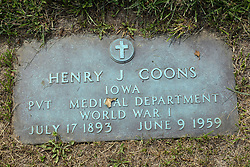 31 August 2017:   Veterans graves in Park Hill Cemetery in eastern McLean County.<br /> <br /> Henry J Coons  Iowa  Private  Medical Department  World War I July 17 1893  June 9 1959