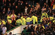 Police and Stewards move into the crowd - UEFA Euro 2016 Qualifier - Scotland vs Republic of Ireland - Celtic Park Stadium - Glasgow - Scotland - 14th November 2014  - Picture Simon Bellis/Sportimage