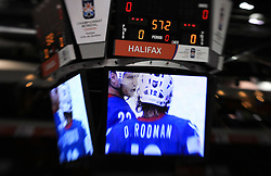 Monitor in arena Metro center at ice-hockey game Slovenia vs Slovakia at second game in  Relegation  Round (group G) of IIHF WC 2008 in Halifax, on May 10, 2008 in Metro Center, Halifax, Nova Scotia, Canada. Slovakia won after penalty shots 4:3.  (Photo by Vid Ponikvar / Sportal Images)