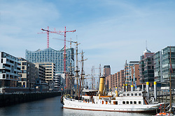 View of modern office buildings in Hafen City commercial and residential property development in Hamburg Germany
