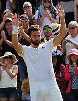 Tennis - 2017 Wimbledon Championships - Week One, Thursday [Day Four]<br /> <br /> Men's Singles, Second Round match<br /> Juan Martin Del Potro  (ARG) v Ernests Gulbis (LAT) <br /> <br /> Ernests Gulbis celebrates his 3 sets win over Del Potro on Court 3<br /> <br /> COLORSPORT/ANDREW COWIE