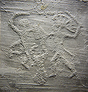 Cast of a prehistoric Petroglyph, rock carving, of two warriors dueling with swords, and shileds carved by the Camunni people in the iron age between 1000-1600 BC , Foppid di Madro Rock 6, Seradina-Bedolina Archaeological Park Museum, Valle Comenica, Lombardy, Italy .<br /> <br /> Visit our PREHISTORY PHOTO COLLECTIONS for more   photos  to download or buy as prints https://funkystock.photoshelter.com/gallery-collection/Prehistoric-Neolithic-Sites-Art-Artefacts-Pictures-Photos/C0000tfxw63zrUT4<br /> If you prefer to buy from our ALAMY PHOTO LIBRARY  Collection visit : https://www.alamy.com/portfolio/paul-williams-funkystock/valcamonica-rock-art.html