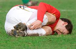 Nikola Tolimir of Rudar injured  at  football match of 21st Round of First League between NK Olimpija and NK Rudar Velenje, on December 2, 2009,  in ZSD Ljubljana, Ljubljana, Slovenia.  Rudar defeated Olimpija 1:0. (Photo by Vid Ponikvar / Sportida)