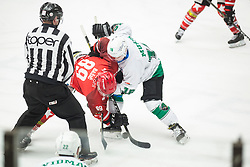 Luka BASIC vs Ales MUSIC during First league match between HDD Acroni Jesenice vs HK SZ Olimpia, on April 23, 2019 in Jesenice, Slovenia. Photo by Peter Podobnik / Sportida