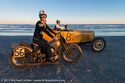 Jen Sheets on her 1947 Harley-Davidson Knucklehead beside her husband Jason Sheets in his hot rod after racing at The Race of Gentlemen. Wildwood, NJ, USA. October 11, 2015.  Photography ©2015 Michael Lichter.