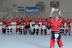Domen Vedlin,  HK Prevoje, with trophy for first place celebrating with teammates at final match of IZS Masters 2011 inline hockey between Troha Pub Bled and HK Prevoje, on June 4, 2011 in Sportni park, Horjul, Slovenia. (Photo by Matic Klansek Velej / Sportida)