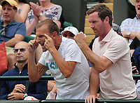 Tennis - 2019 Wimbledon Championships - Week One, Saturday (Day Six)<br /> <br /> Mens Singles, 3rd Round <br /> Joao Sousa (POR) v Dan Evans (GBR) <br /> <br /> Dan Evans coaches spur him on on Court 1<br /> <br /> COLORSPORT/ANDREW COWIE