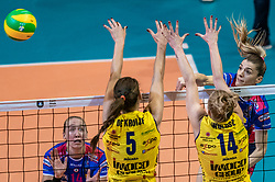 18-05-2019 GER: CEV CL Super Finals Igor Gorgonzola Novara - Imoco Volley Conegliano, Berlin<br /> Igor Gorgonzola Novara take women's title! Novara win 3-1 / Francesca Piccinini #12 of Igor Gorgonzola Novara, Robin de Kruijf #5 of Imoco Volley Conegliano, Joanna Wolosz #14 of Imoco Volley Conegliano