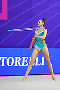 Griskenas Evita during final at hoop in World Cup Pesaro, Adriatic Arena on April 15, 2018. Evita is a promising young American athlete born in Chicago in 2000.Today is Senior Member of United States National Team..