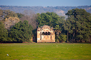 Rajbagh Lake and Maharaja of Jaipur's Hunting Lodge in Ranthambhore National Park, Rajasthan, Northern India