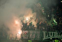 Green Dragons, fans  of Olimpija celebrate during football match between NK Maribor and NK Olimpija Ljubljana in 34th Round of Prva liga Telekom Slovenije 2017/18, on May 19, 2018, in Stadion Ljudski vrt, Maribor, Slovenia. Photo by Vid Ponikvar / Sportida