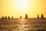 Sunset with sailboats<br />