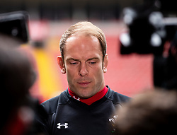 Alun Wyn Jones of Wales talks to the press<br /> <br /> Photographer Simon King/Replay Images<br /> <br /> Six Nations Round 3 - Captains Run - Wales v England - Saturday 22nd February 2019 - Principality Stadium - Cardiff<br /> <br /> World Copyright © Replay Images . All rights reserved. info@replayimages.co.uk - http://replayimages.co.uk